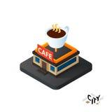 Isometrisch coffeehouse koffiepictogram, het infographic element van de de bouwstad, vectorillustratie Stock Foto