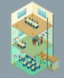 Isometrisch commercieel centrum De vector 3d bureaubouw met mensen vector illustratie