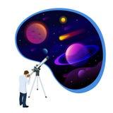 Isometrisch concept Astronoom het kijken door telescoop op planeten, sterren en kometen Astronomische telescoopbuis en stock illustratie