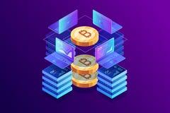 Isometrisch concept mijnbouw bitcoin royalty-vrije illustratie