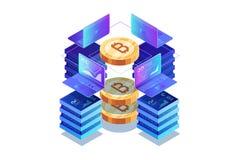Isometrisch concept mijnbouw bitcoin in wit royalty-vrije illustratie