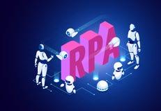 Isometrisch concept RPA, kunstmatige intelligentie, de automatisering van het roboticaproces, ai in fintech of machinetransformat stock illustratie