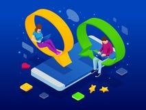 Isometrisch concept sociaal media netwerk, digitale mededeling, het babbelen Online van de praatjeman en vrouw app pictogrammen p stock illustratie