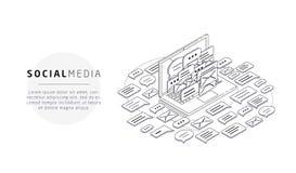 Isometrisch concept spam, sociale media vector illustratie