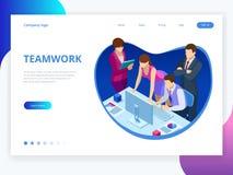 Isometrisch concept voor bedrijfsgroepswerk en digitale marketing, creatieve innovatie Het vlakke ontwerp van de Webbanner van be stock illustratie