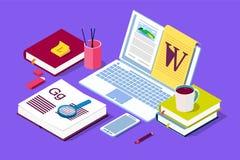 Isometrisch Concept voor Blog, Blogging-concept, post, inhoudsstrategie, sociale media, het babbelen stock fotografie
