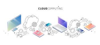 Isometrisch concept wolk gegevensverwerking De wolkennetwerk en diensten vector illustratie