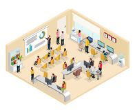 Isometrisch Coworking-Bureauconcept stock illustratie