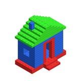 Isometrisch 3D huis van plastic bouwbakstenen stuk speelgoed plastiek Stock Fotografie