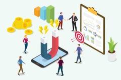 Isometrisch 3d klantenretentie marketing concept met teammensen en magneet met grafiekgrafiek - vector royalty-vrije illustratie