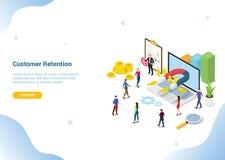 Isometrisch 3d klantenretentie marketing concept voor landende de homepagebanner van het websitemalplaatje - vector vector illustratie