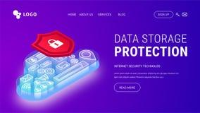 Isometrisch de beschermings landend viooltje van de gegevensopslag stock illustratie
