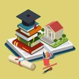 Isometrisch de graduatie vlak 3d Web van het universiteits universitair onderwijs Stock Afbeelding