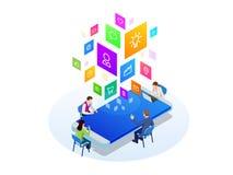 Isometrisch digitaal marketing strategieconcept Online zaken, Internet-marketing idee, bureau en financiënvoorwerpen stock illustratie