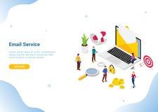 Isometrisch e-maildienst of de dienstenconcept voor Web of websitebanner van de malplaatje de landende homepage - vector stock illustratie