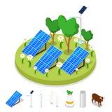 Isometrisch Ecologieconcept Vernieuwbare zonne-energie stock illustratie