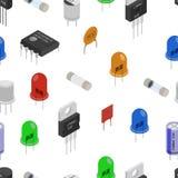 Isometrisch Elektronische componentenpatroon vector illustratie