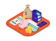 Isometrisch financiënconcept stock illustratie
