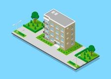 Isometrisch flatgebouw Royalty-vrije Stock Afbeelding
