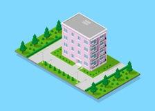 Isometrisch flatgebouw Royalty-vrije Stock Afbeeldingen