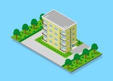 Isometrisch flatgebouw Stock Afbeelding