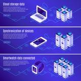 Isometrisch gegevensbestand Computer, laptop en smartphone aan opslag die van wolken de online gegevens wordt aangesloten Beveili vector illustratie
