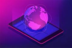 Isometrisch globaal satelliettechnologieconcept Stock Afbeelding