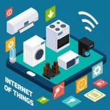 Isometrisch het conceptenpictogram van het Iot beknopt huishouden Stock Afbeelding
