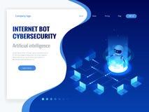 Isometrisch Internet bot en cybersecurity, kunstmatige intelligentieconcept Virtuele hulp van de ChatBot de vrije robot van stock illustratie