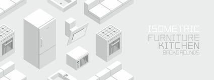 Isometrisch Keukenmeubilair Stock Afbeeldingen