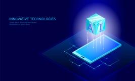 Isometrisch kunstmatige intelligentie bedrijfsconcept Blauwe gloeiende isometrische persoonlijke de verbindingspc van informatieg vector illustratie