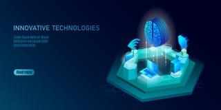 Isometrisch kunstmatige intelligentie bedrijfsconcept Blauwe gloeiende isometrische persoonlijke de verbindingspc van informatieg royalty-vrije illustratie