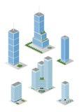Isometrisch Lang de Gebouwenpak van het Stadsbureau royalty-vrije stock afbeeldingen