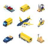 Isometrisch leveringsconcept De Vrachtvervoer van het Luchtvrachtvliegtuig, Vrachtwagen, Autoped vector illustratie