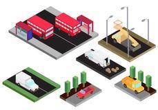 Isometrisch model van diverse geïsoleerde rode bus van de auto'sdubbeldekker, vrachtwagen, emmervrachtwagen, cabriolet, bestelwag stock illustratie