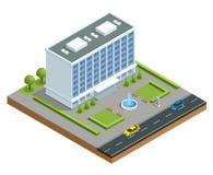 Isometrisch modern commercieel centrum met parkeren en auto's Commerciële de bureaubouw geïsoleerde vectorillustratie stock illustratie