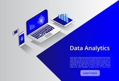 Isometrisch modern computertechnologie en voorzien van een netwerkconcept De technologiezaken van de Webwolk De datadiensten van  stock illustratie