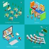 Isometrisch Onderwijsconcept Universitair Computerklaslokaal, Online Onderwijs, Bibliotheek, de Zaal van de Universiteitslezing stock illustratie