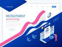 Isometrisch online baanonderzoek en menselijke hulpbron, rekruteringsconcept Wij huren Presentatie voor werkgelegenheid en royalty-vrije illustratie