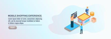 Isometrisch ontwerp, het mobiele online winkelen, klantenervaring, mobiele handel, inkoopartikelen vector illustratie