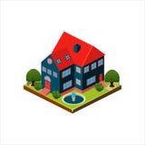 Isometrisch pictogram die modern huis met binnenplaats vertegenwoordigen Royalty-vrije Stock Fotografie