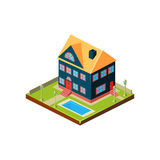 Isometrisch pictogram die modern huis met binnenplaats vertegenwoordigen Stock Afbeelding
