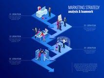 Isometrisch presentatie bedrijfsinfographicsmalplaatje met 5 opties Bedrijfsgegevensvisualisatie, digitale marketing royalty-vrije illustratie