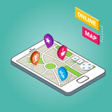 Isometrisch Smartphone met stadskaart Modern infographic malplaatje Stock Fotografie