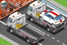 Isometrisch Tow Truck in Autohulp in Achtermening Royalty-vrije Stock Fotografie