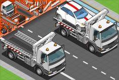 Isometrisch Tow Truck in Autohulp in Front Vie Royalty-vrije Stock Afbeeldingen