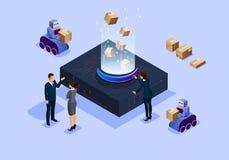 Isometrisch van de illustratie toekomstig wetenschap en technologie intelligent bureau royalty-vrije illustratie