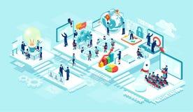 Isometrisch van virtueel bureau met zakenlui, collectieve werknemers die aan een nieuw opstarten samenwerken die mobiele apparate stock illustratie