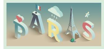 Isometrisch vector de prentbriefkaarontwerp van Parijs Vector Illustratie