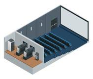 Isometrisch vectorbioskooptheater met het lege scherm Omvat het scherm, de zetels en de projectoren van de filmprojectie royalty-vrije illustratie